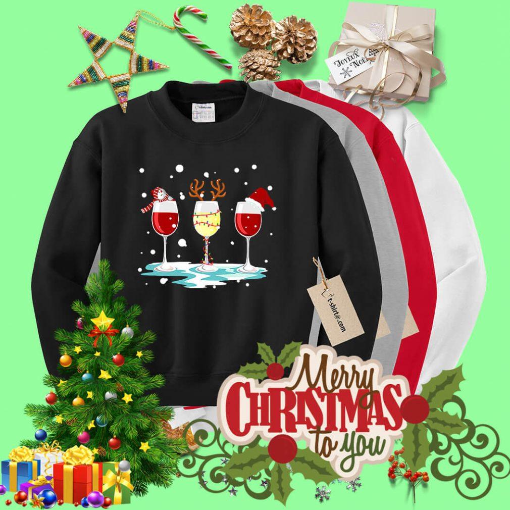 Three glasses of wine Christmas shirt, sweater