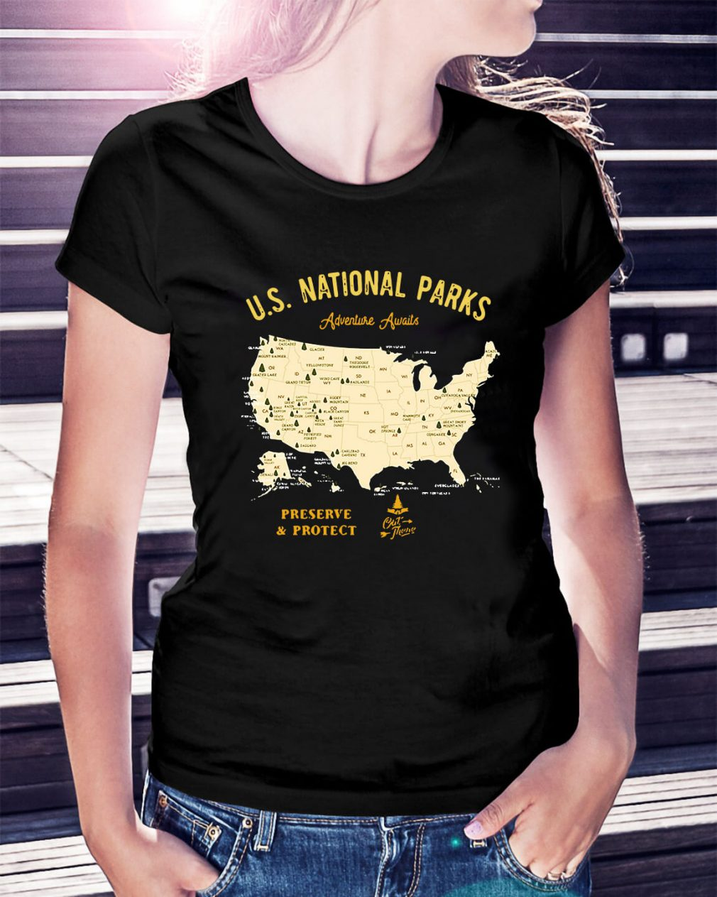 US national parks Adventure Awaits preserve and protect Ladies Tee