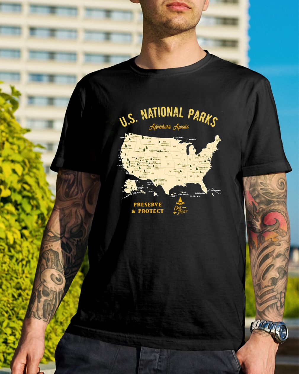 US national parks Adventure Awaits preserve and protect shirt
