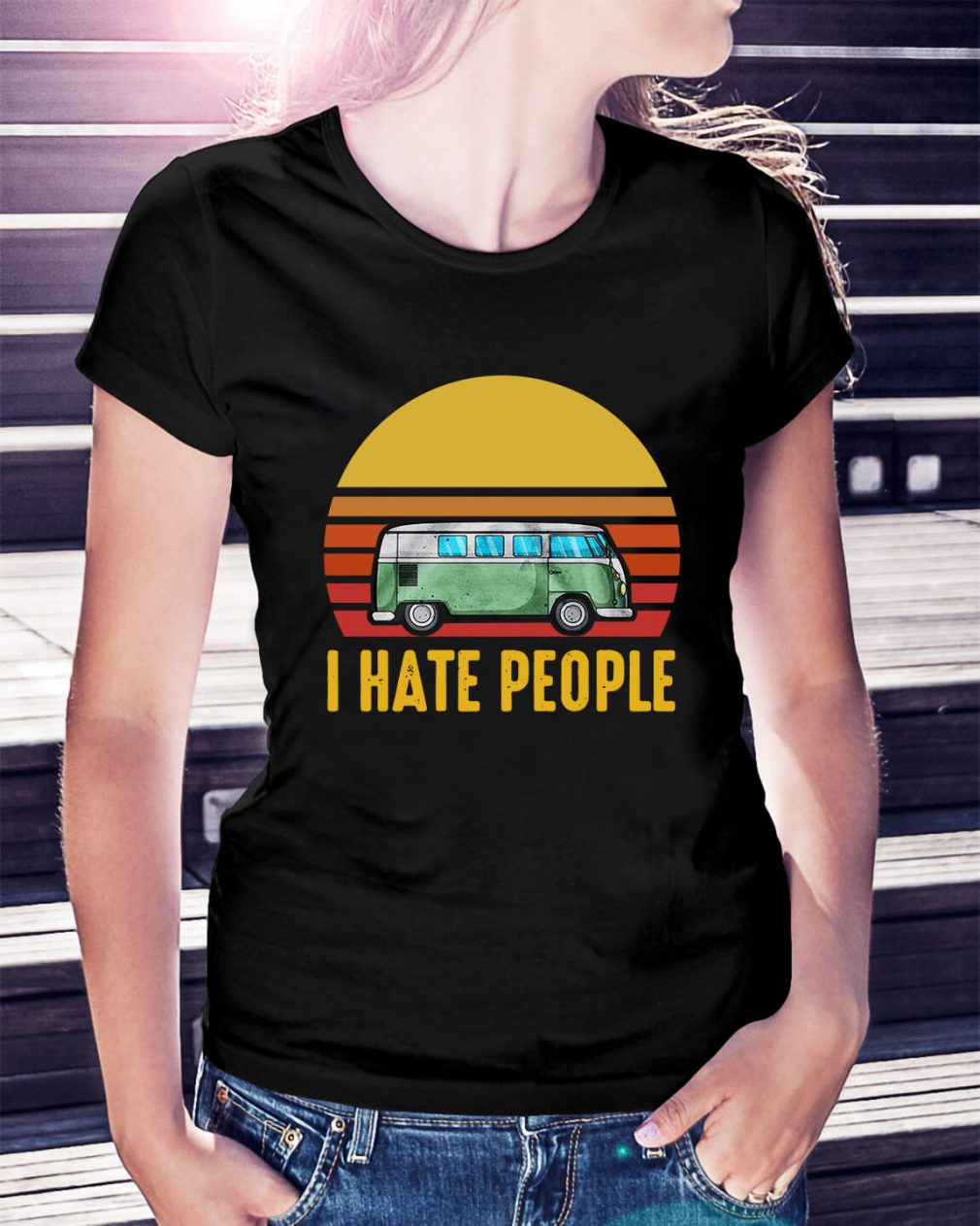 Vintage bus I hate people Ladies Tee