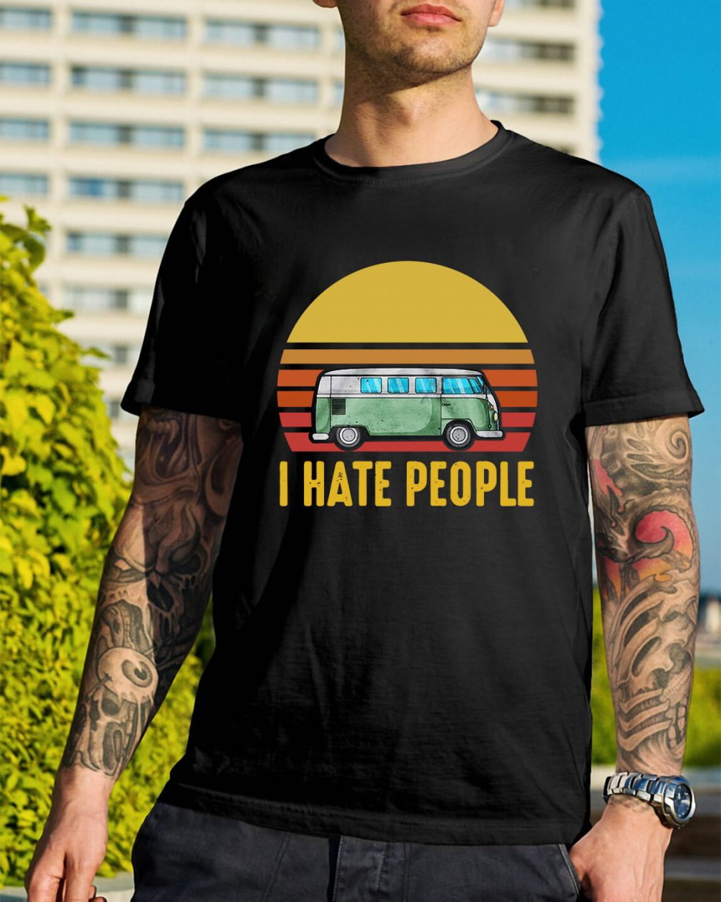 Vintage bus I hate people shirt