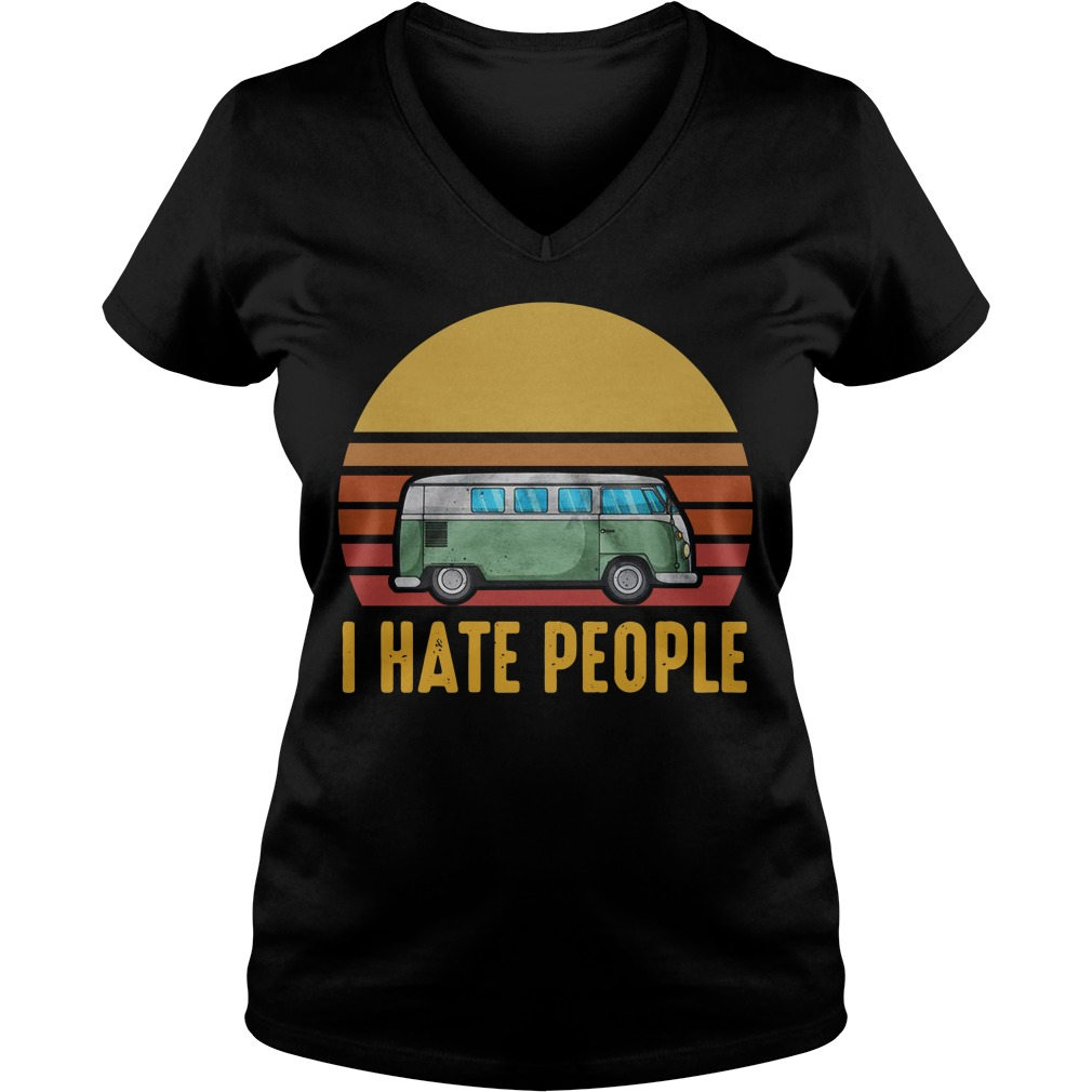Vintage bus I hate people V-neck T-shirt