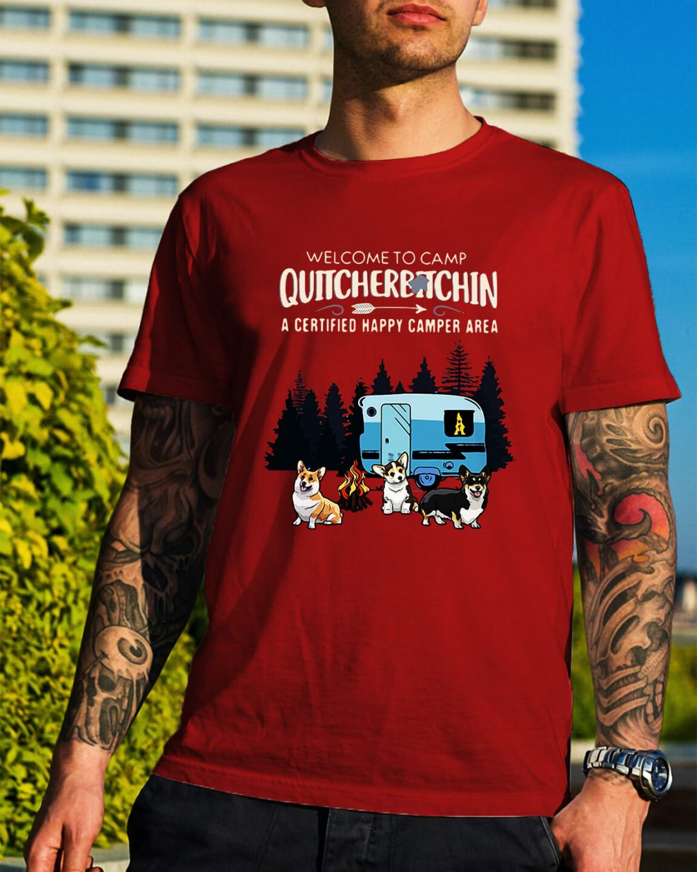 Welcome to camp quitcherbitchin a certified happy camper area Guys Shirt