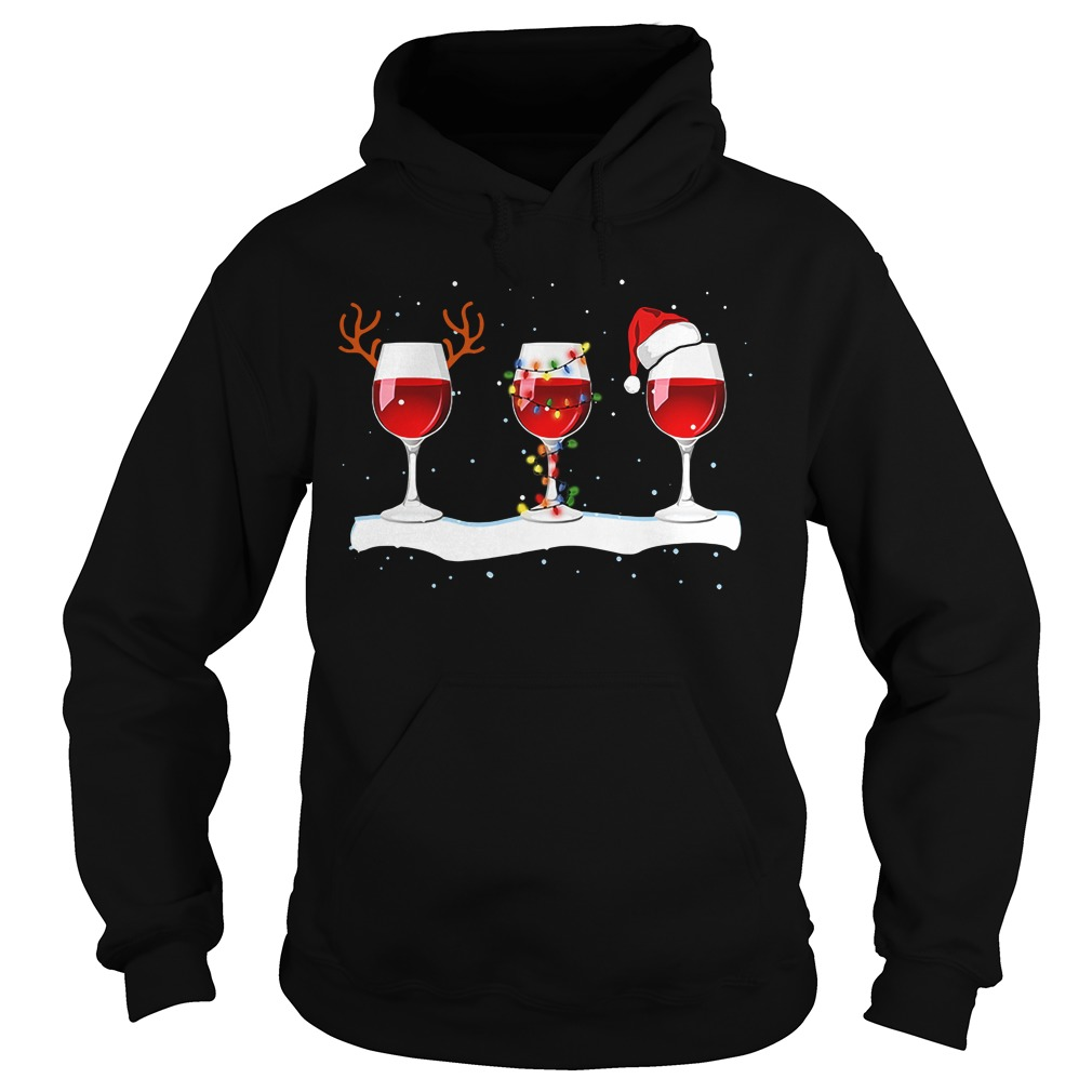 Wine glass Christmas of reindeer lights and Santa hat Hoodie