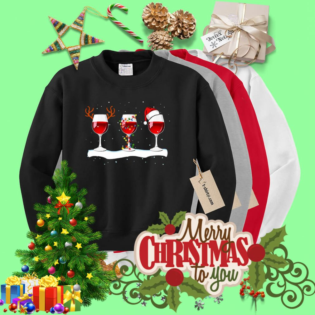 Wine glass Christmas of reindeer lights and Santa hat shirt, sweater