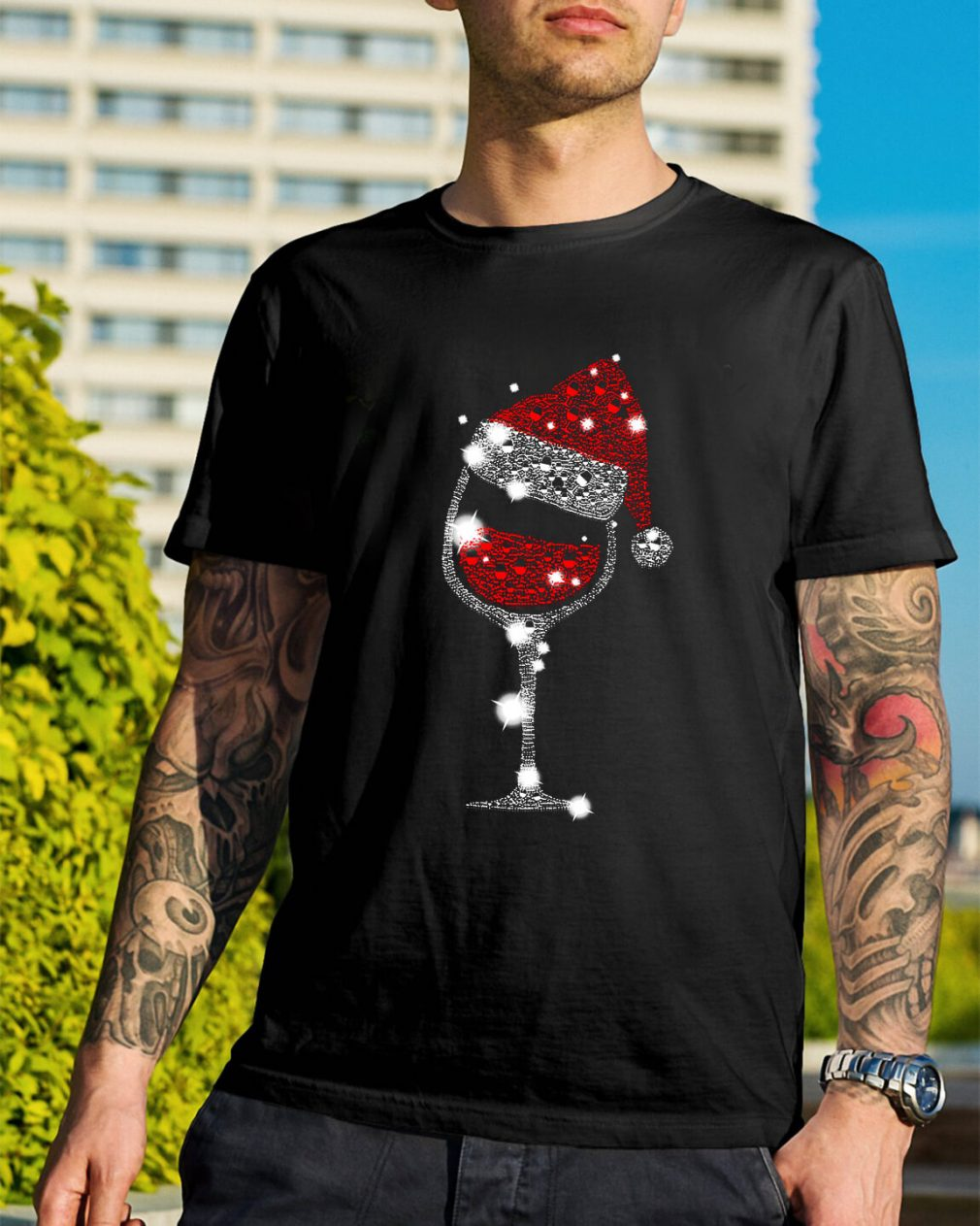 Wine glass and Santa hat Christmas Guys Shirt