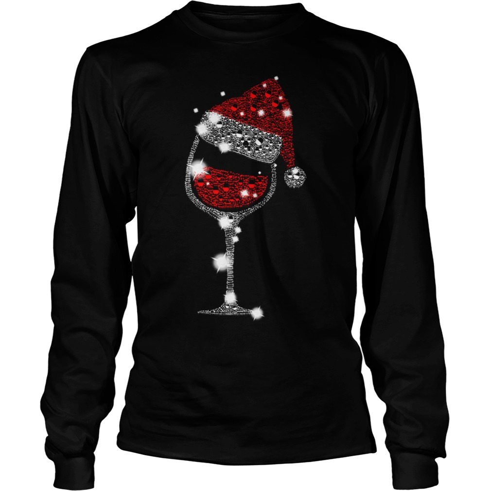 Wine glass and Santa hat Christmas Longsleeve Tee