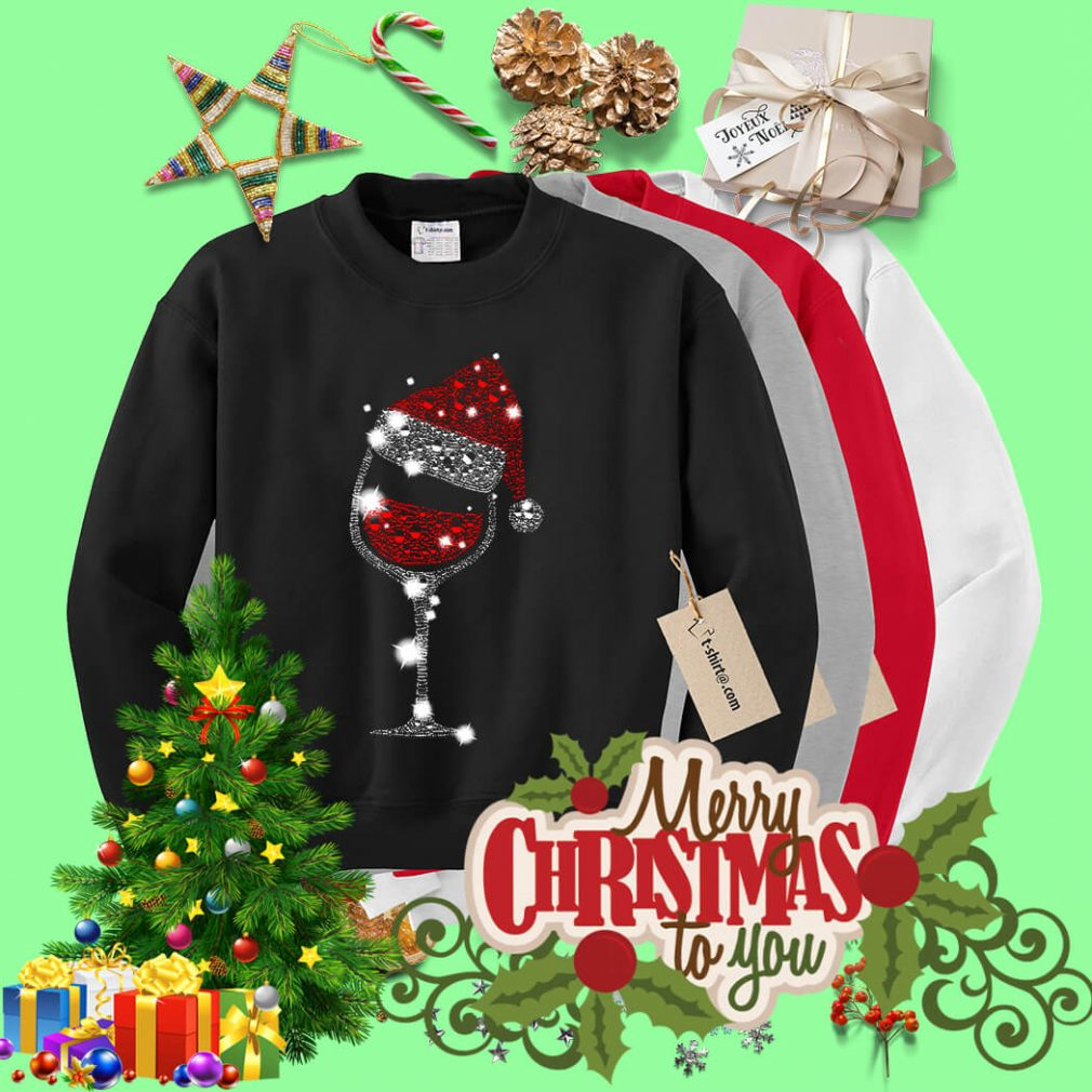 Wine glass and Santa hat Christmas shirt, sweater