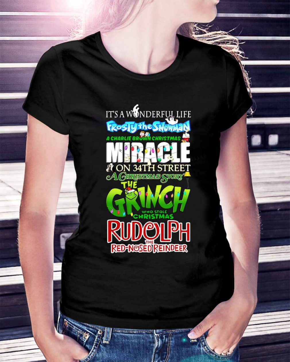 It's a wonderful life full Frosty the Snowman a Charlie Brown Ladies Tee