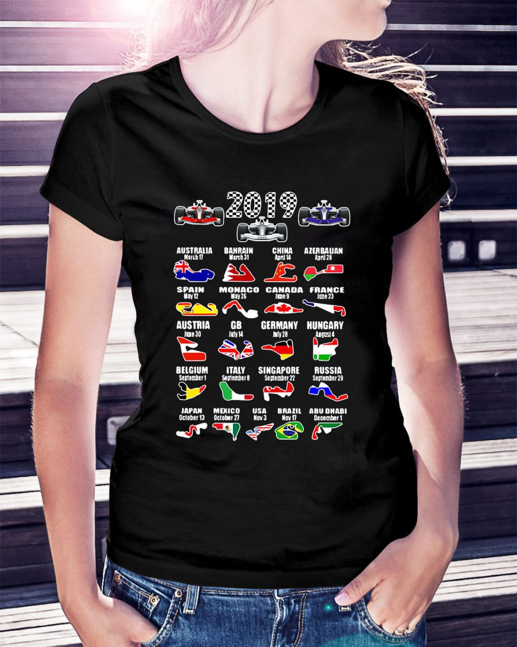 2019 racing calendar Australia Bahrain China Ladies Tee