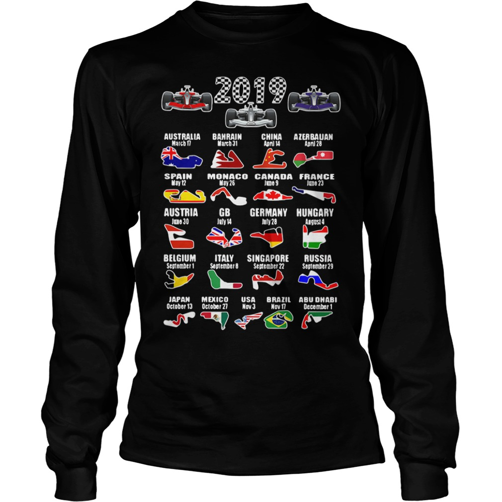 2019 racing calendar Australia Bahrain China Longsleeve Tee
