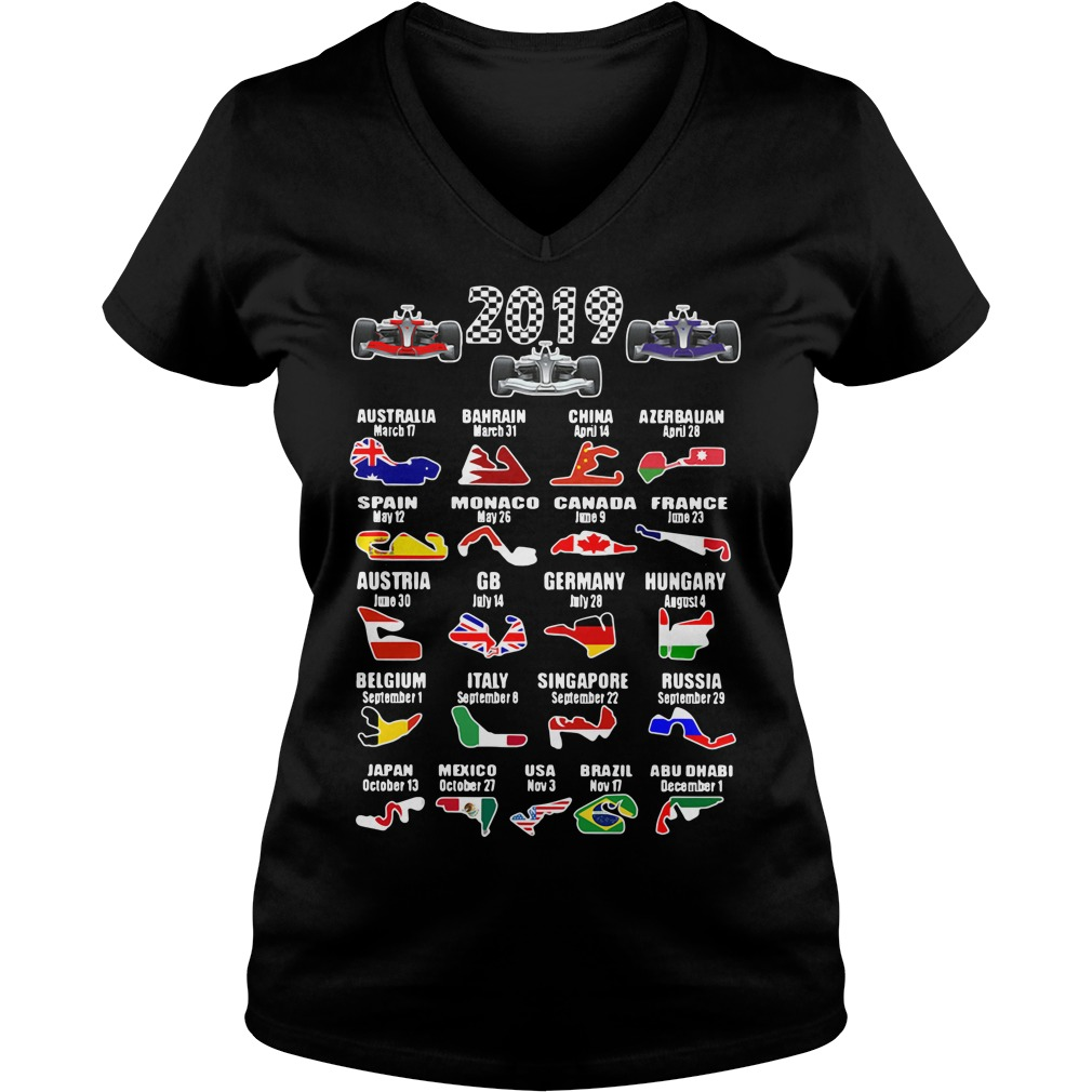 2019 racing calendar Australia Bahrain China V-neck T-shirt