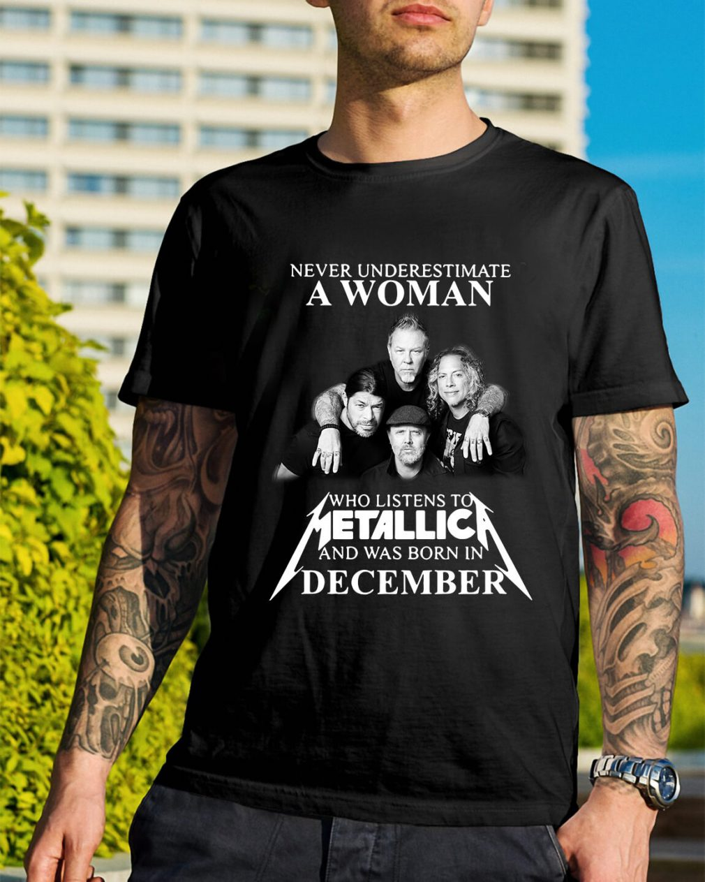 A woman who listens to Metallica and was born in December shirt