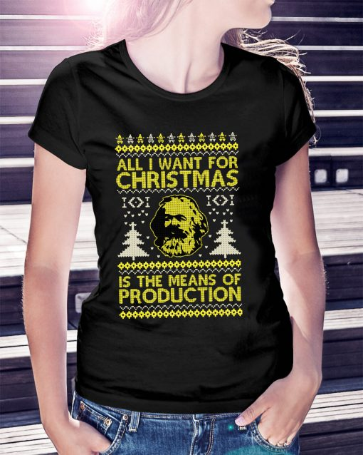 "Karl Marx ""Seize the Means of Production"" Funny Ugly Christmas Sweater and ladies T-shirt"