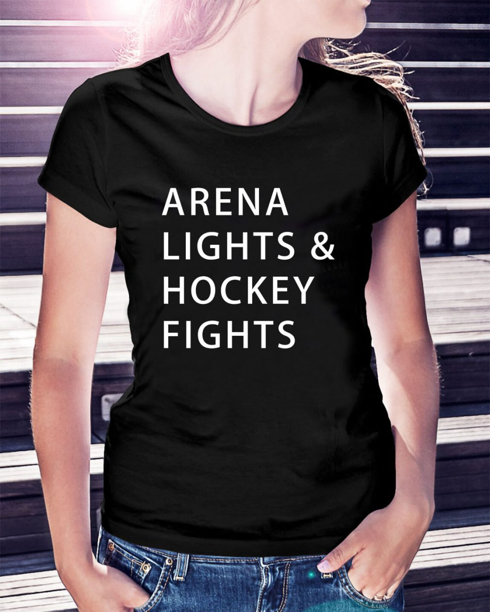 Arena lights and hockey fights Ladies Tee