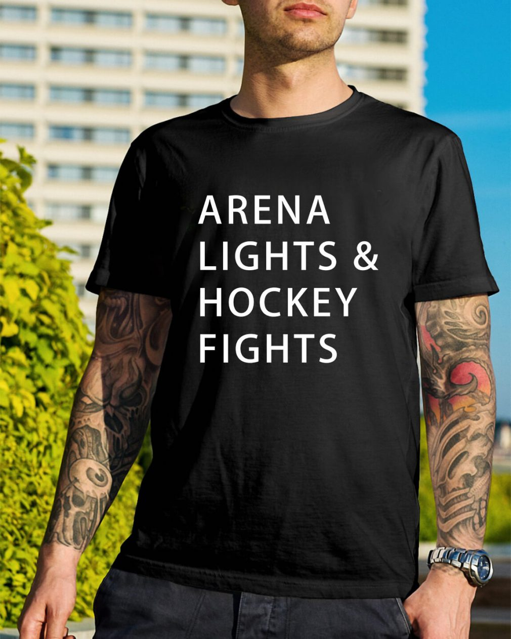 Arena lights and hockey fights shirt
