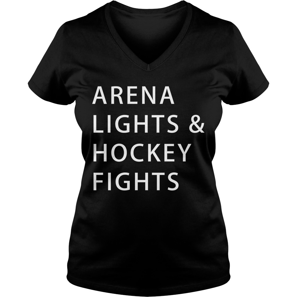 Arena lights and hockey fights V-neck T-shirt