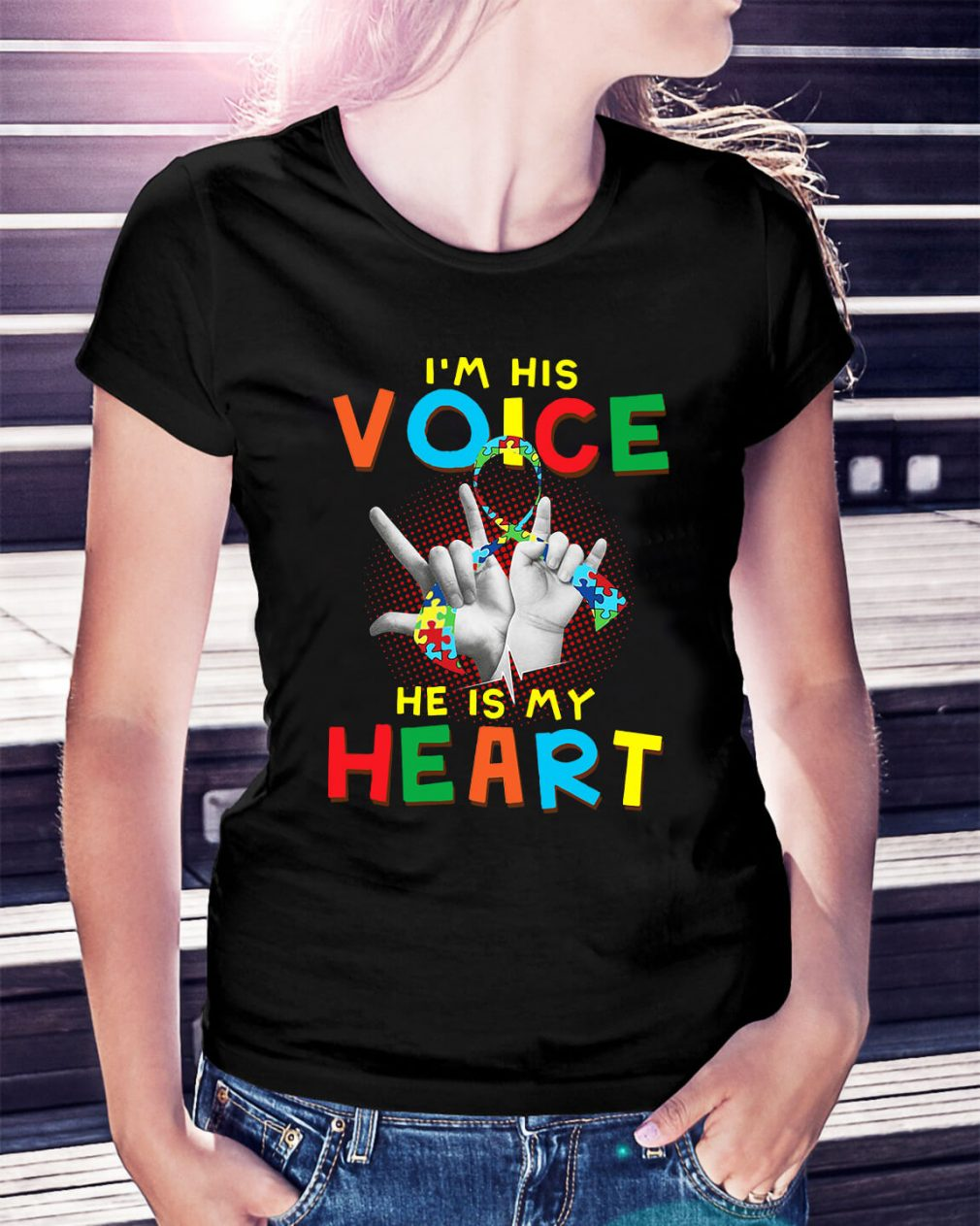 Autism I'm his voice he is my heart Ladies Tee