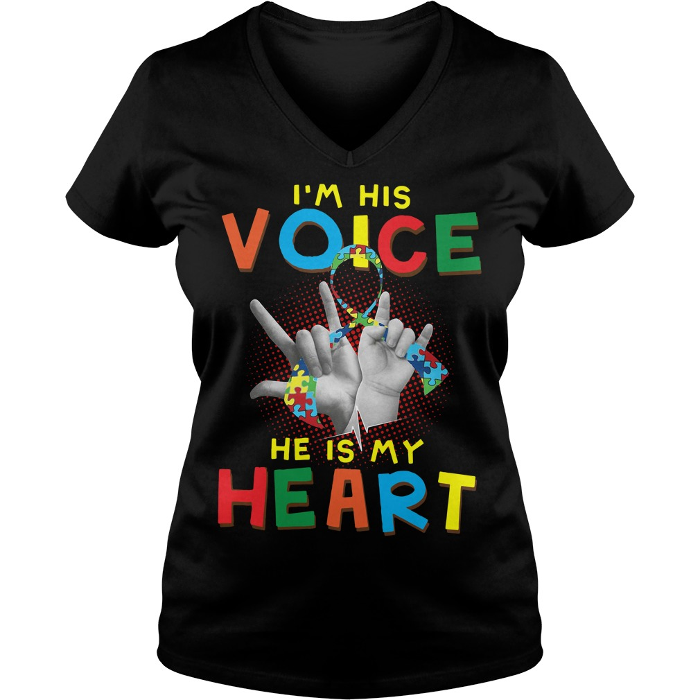 Autism I'm his voice he is my heart V-neck T-shirt