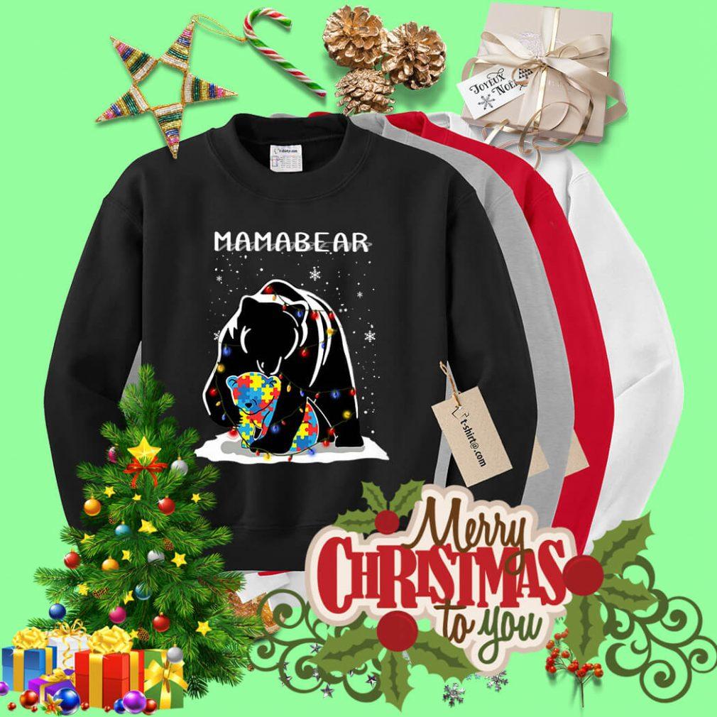 Autism mama bear Christmas light shirt, sweater