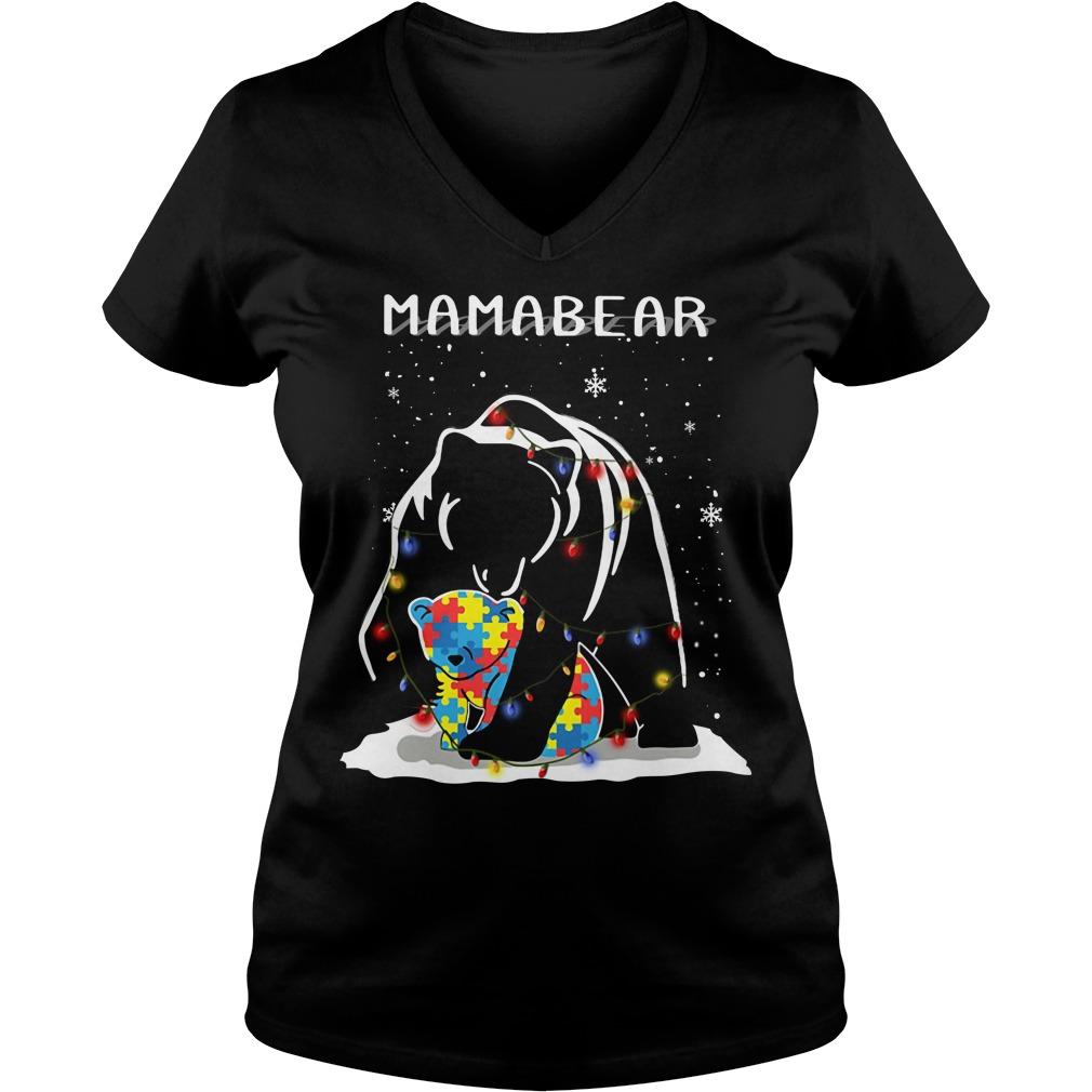Autism mama bear Christmas light V-neck T-shirt