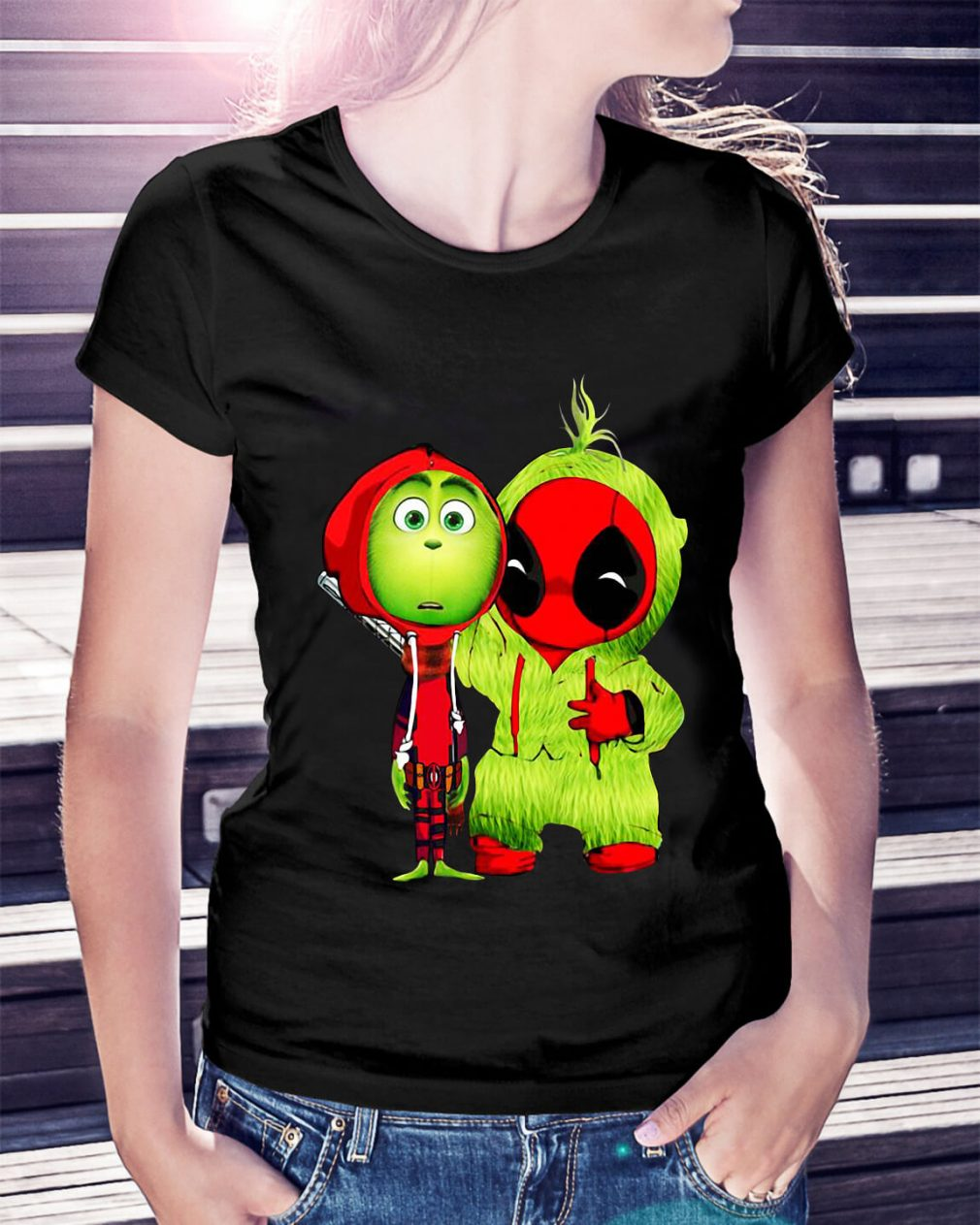 Baby Deadpool and Baby Grinch Christmas Ladies Tee