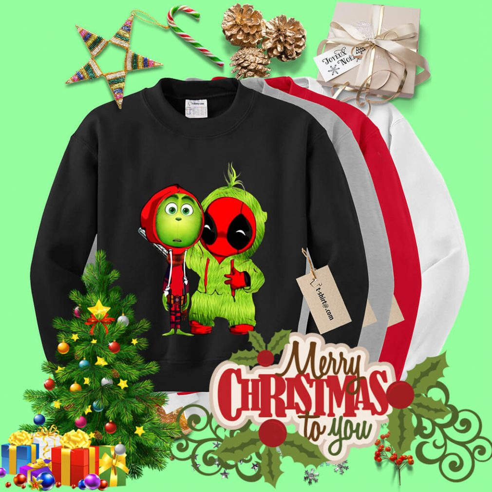 Baby Deadpool and Baby Grinch Christmas shirt, sweater