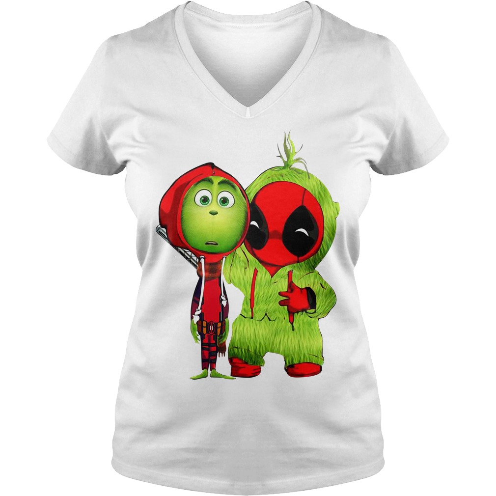 Baby Deadpool and Baby Grinch Christmas V-neck T-shirt