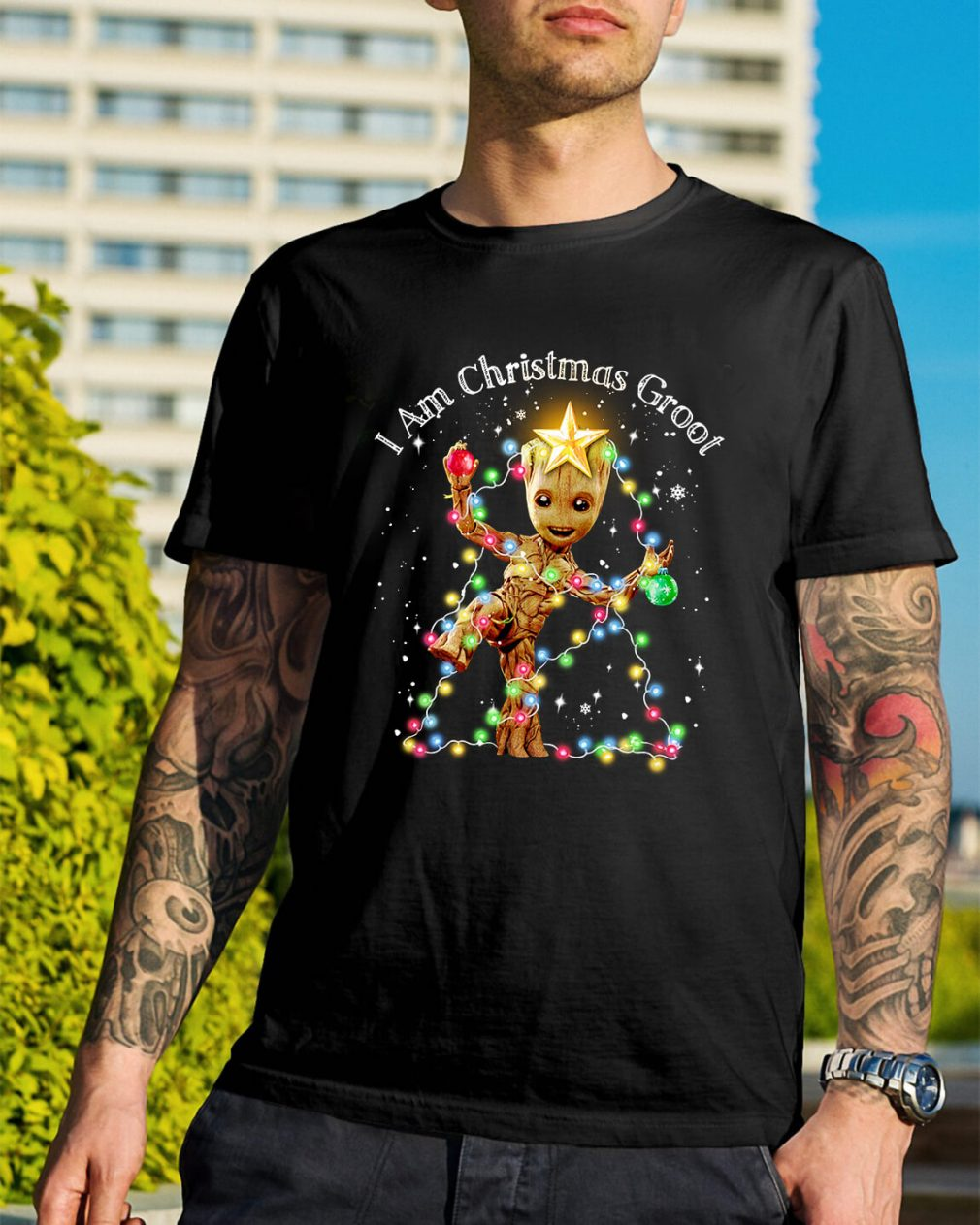 Baby Groot I am Christmas Groot light Guys Shirt