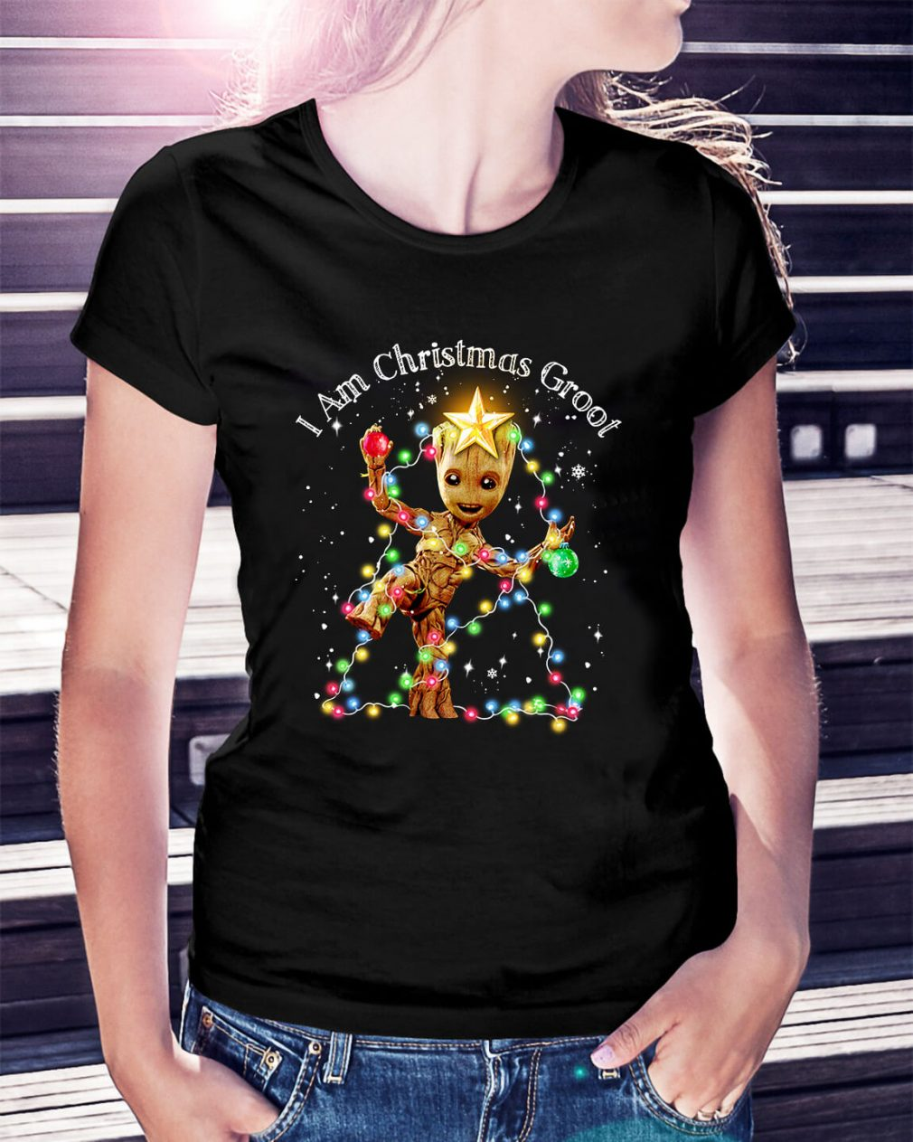 Baby Groot I am Christmas Groot light Ladies Tee