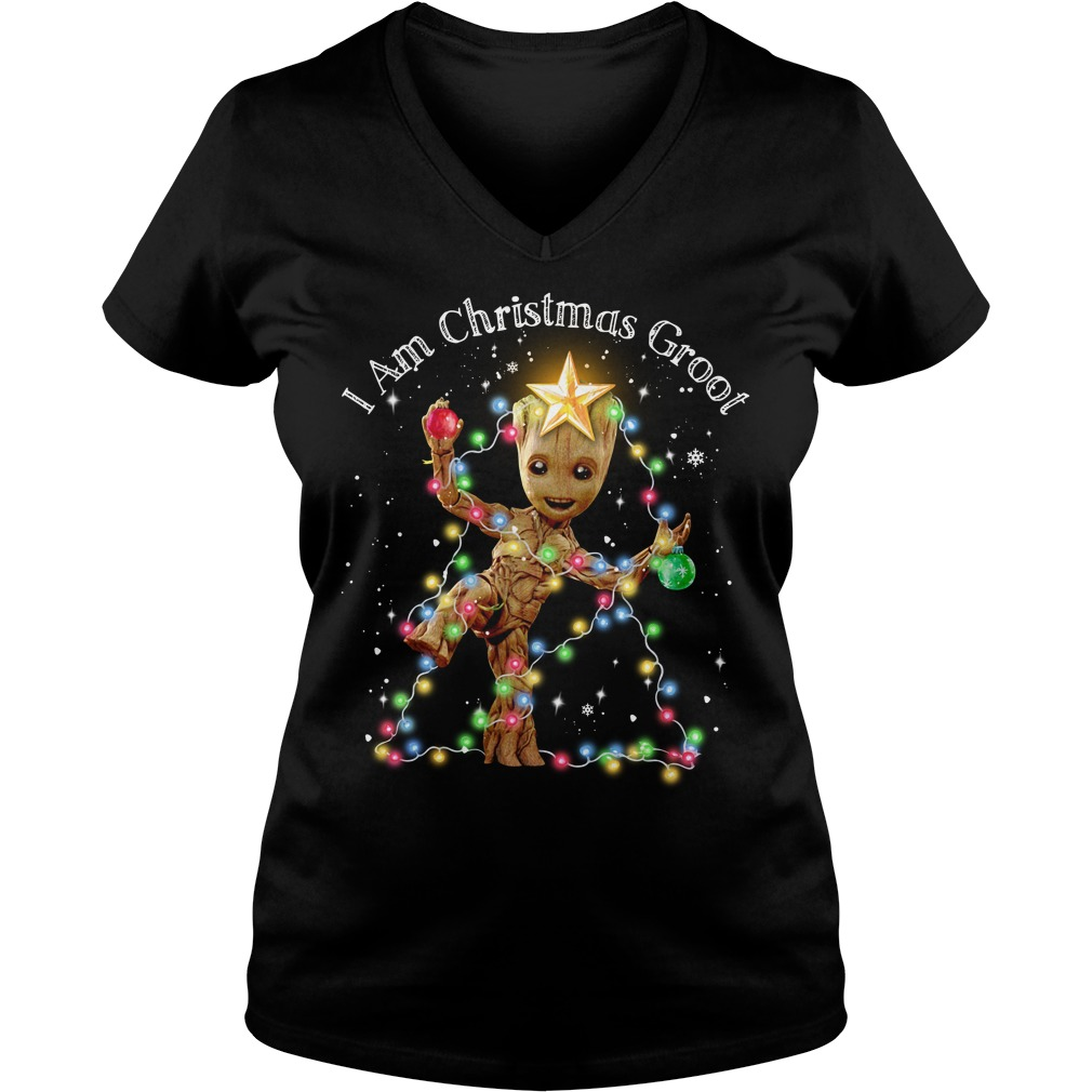 Baby Groot I am Christmas Groot light V-neck T-shirt