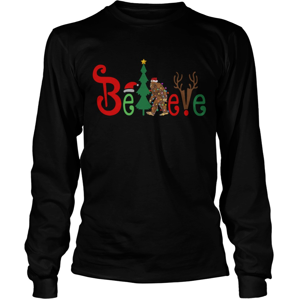 Believe Bigfoot Santa Christmas Longsleece Tee