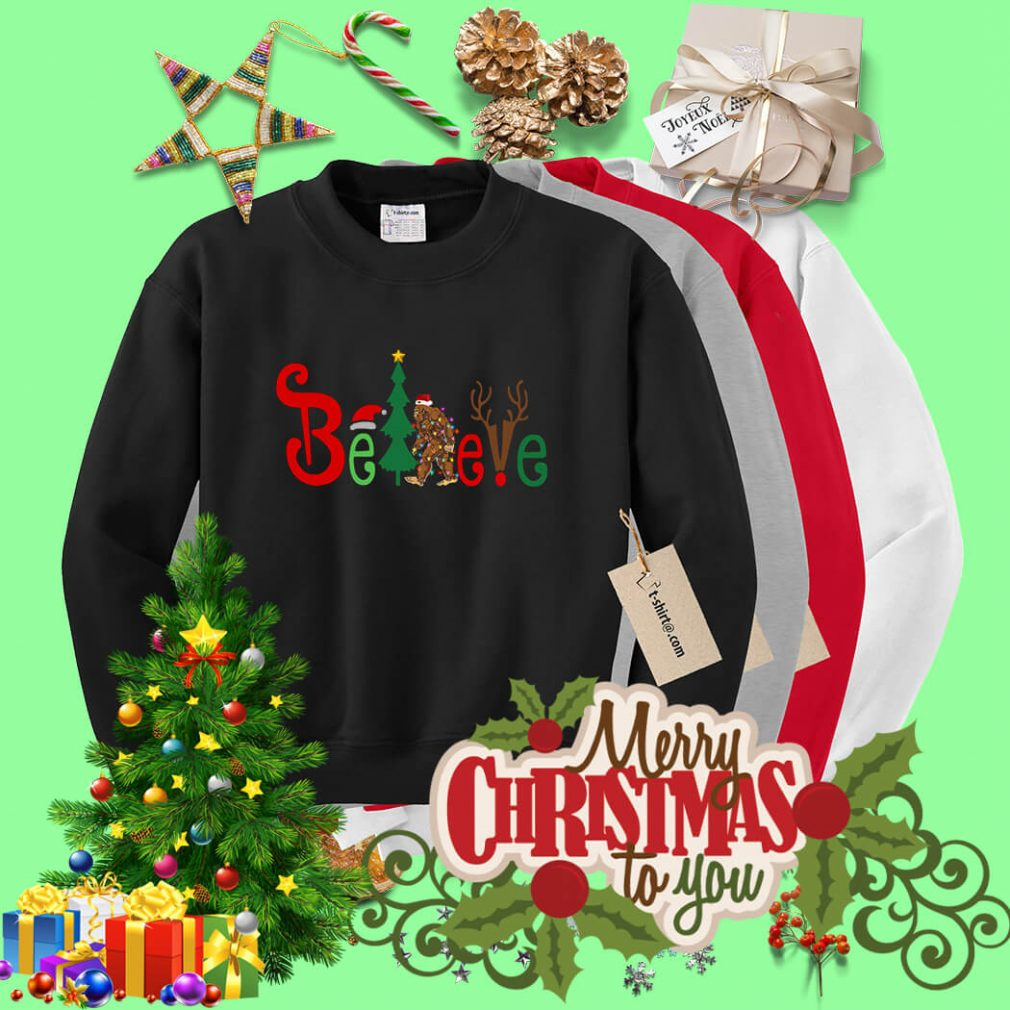 Believe Bigfoot Santa Christmas shirt, sweater