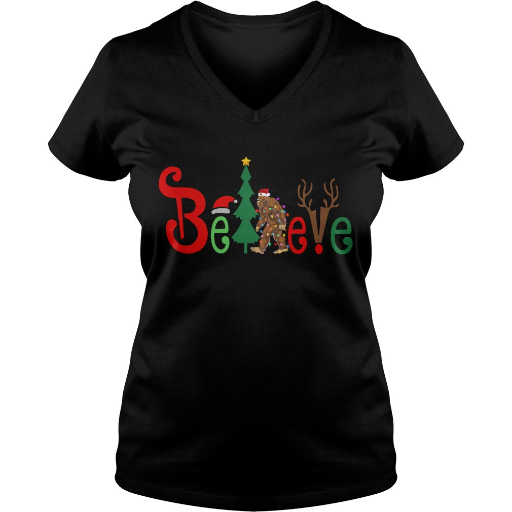 Believe Bigfoot Santa Christmas V-neck T-shirt