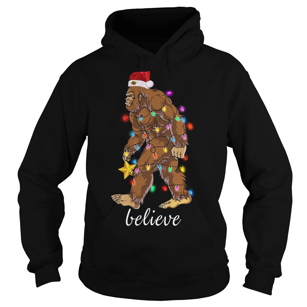 Bigfoot Santa believe Christmas Hoodie