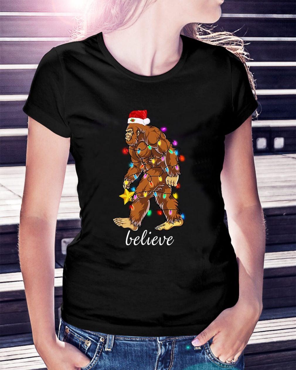 Bigfoot Santa believe Christmas Ladies Tee