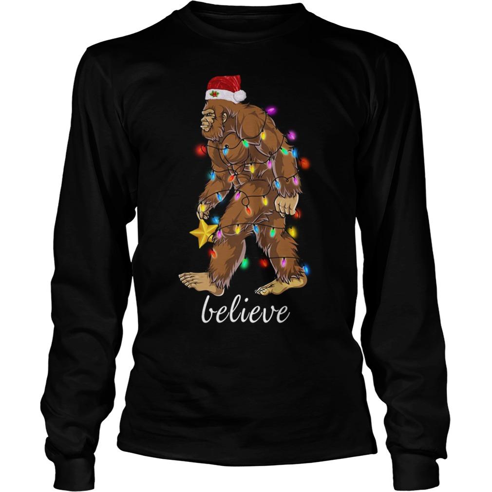 Bigfoot Santa believe Christmas Longsleeve Tee
