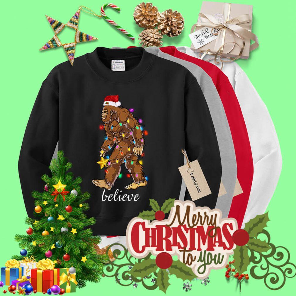 Bigfoot Santa believe Christmas shirt, sweater