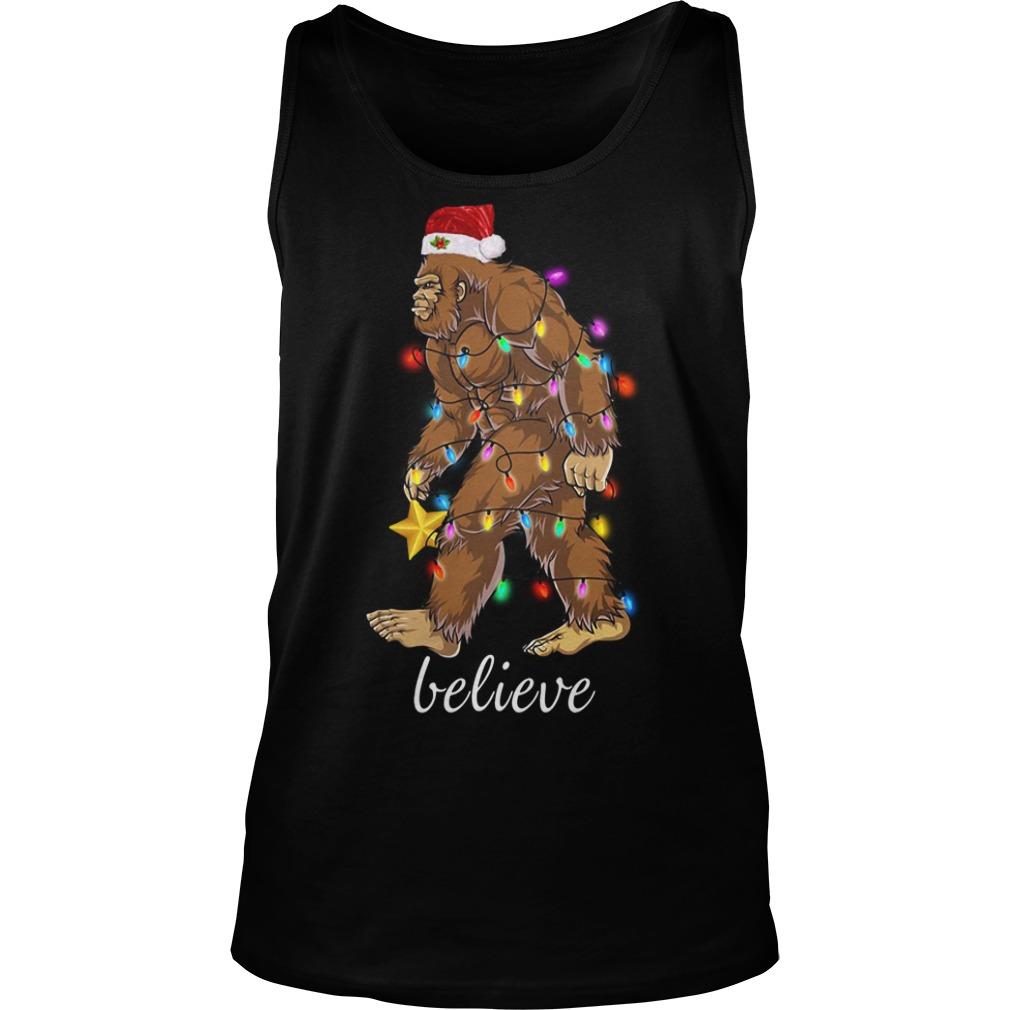Bigfoot Santa believe Christmas Tank Top
