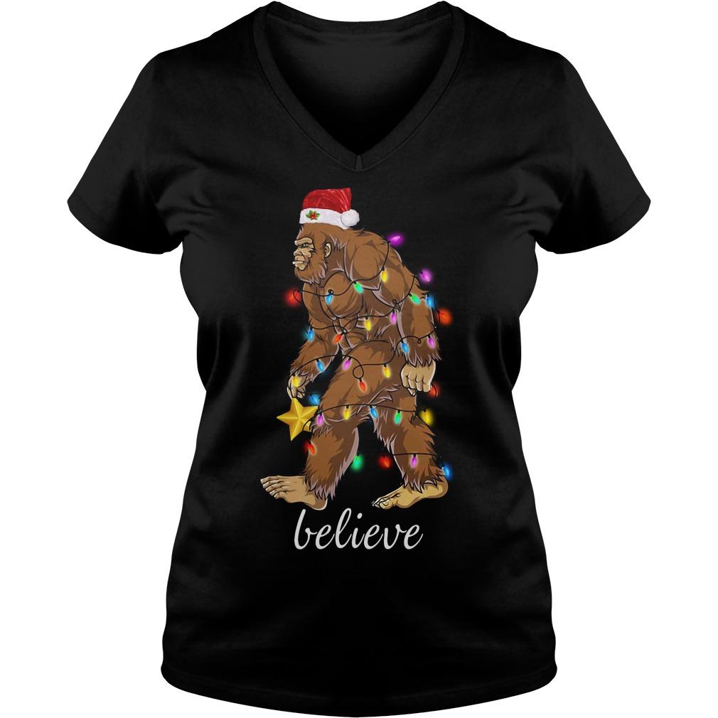 Bigfoot Santa believe Christmas V-neck T-shirt