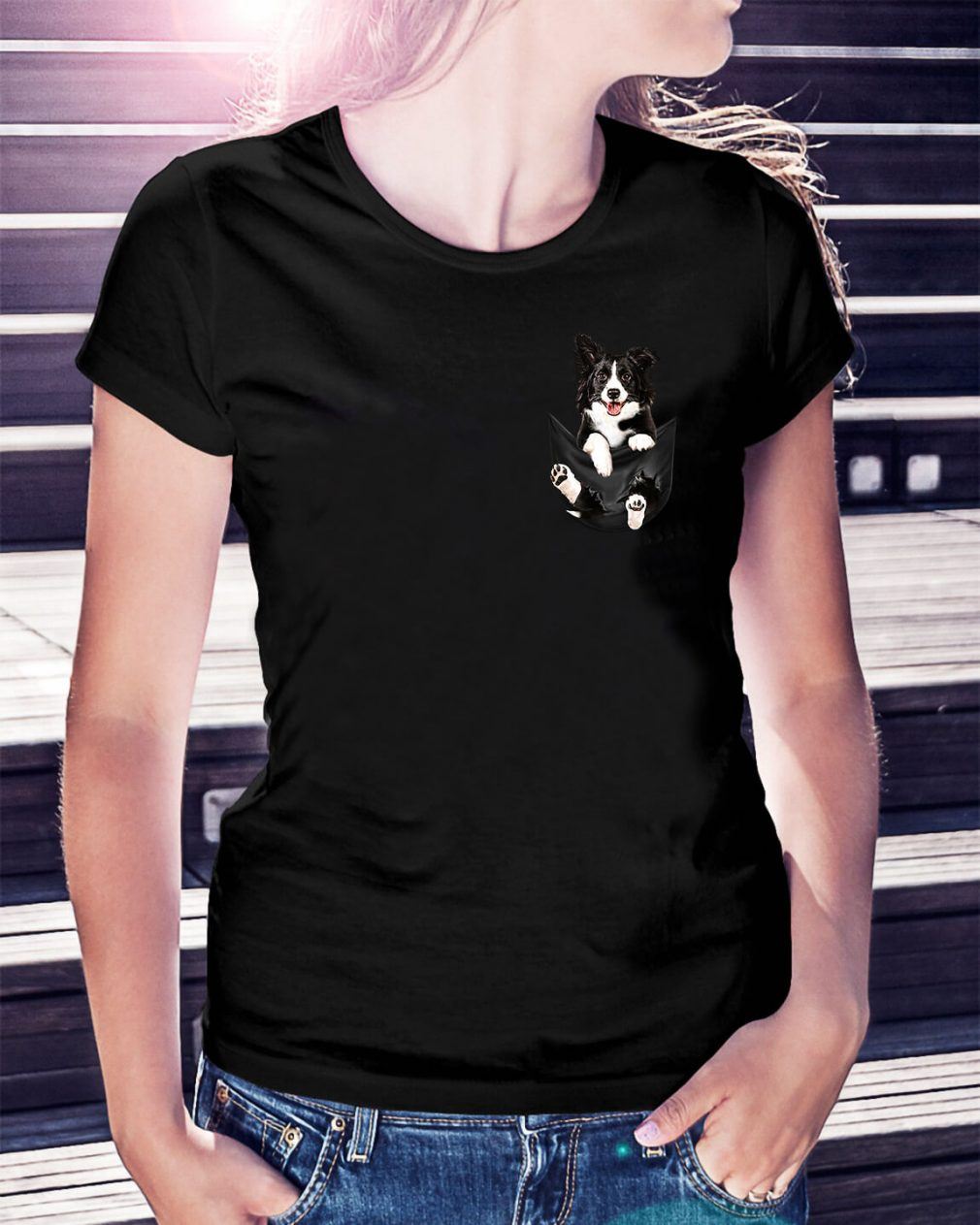 Border Collie dog in a pocket Ladies Tee