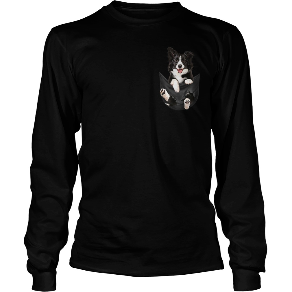 Border Collie dog in a pocket Longsleeve Tee