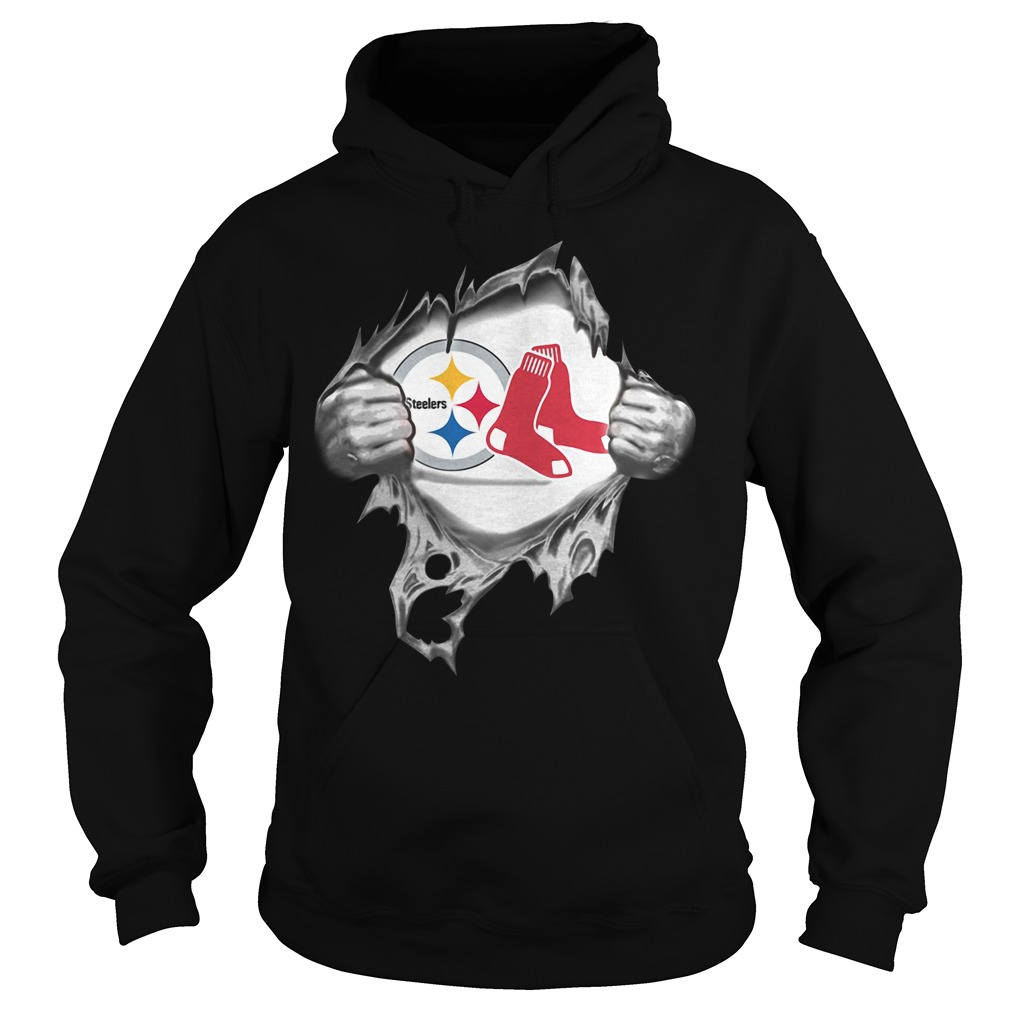 Boston Red Sox and Pittsburgh Steelers blood inside me Hoodie