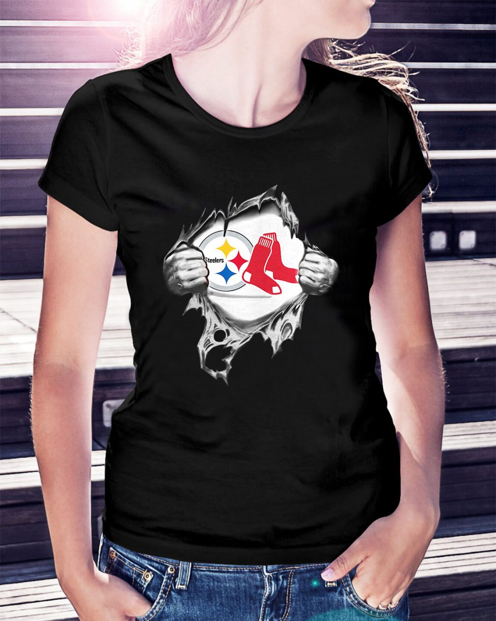 Boston Red Sox and Pittsburgh Steelers blood inside me Ladies Tee