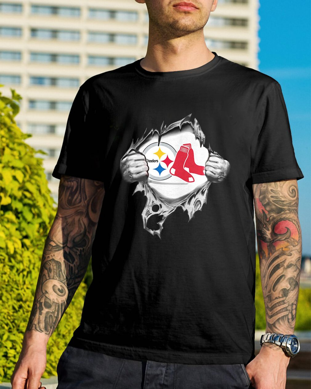 Boston Red Sox and Pittsburgh Steelers blood inside me shirt
