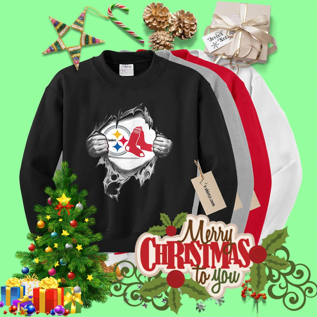 Boston Red Sox and Pittsburgh Steelers blood inside me Sweater