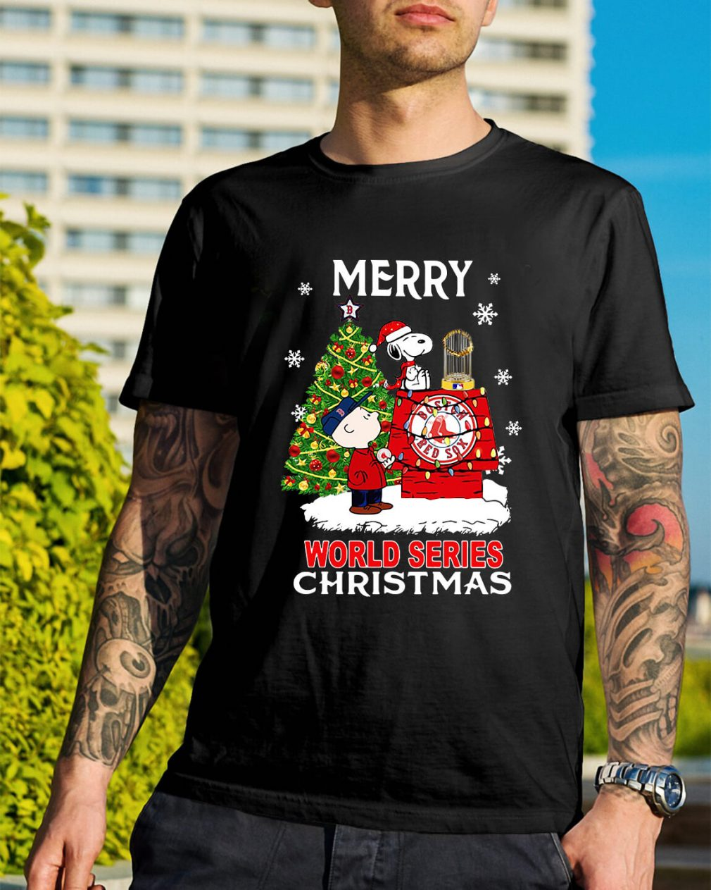 Boston Red Sox the Peanuts Snoopy world series Christmas Guys Shirt