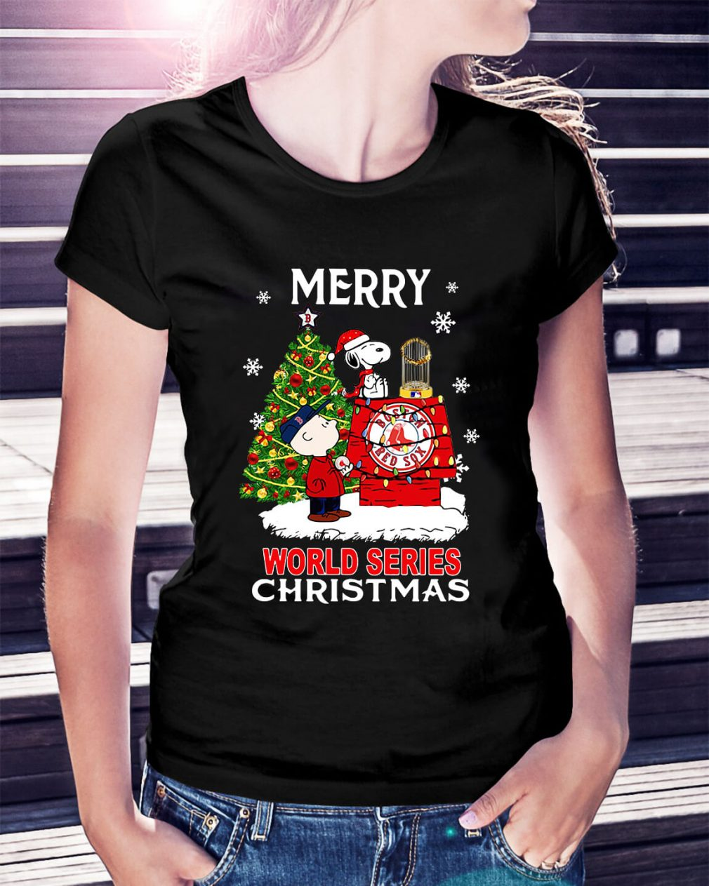 Boston Red Sox the Peanuts Snoopy world series Christmas Ladies Tee