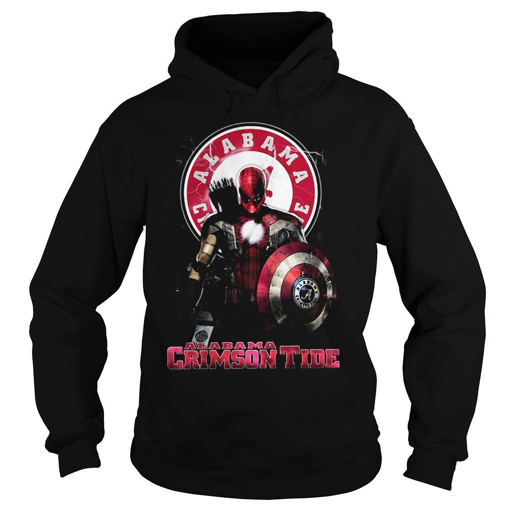 Captain Deadpool Spiderman Alabama Crimson tide Hoodie