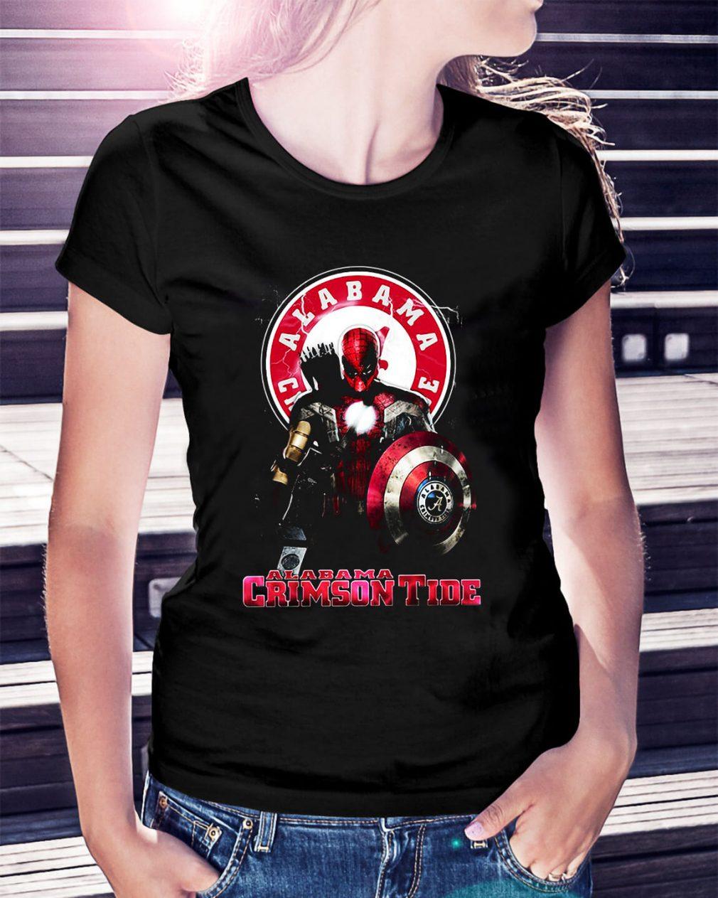 Captain Deadpool Spiderman Alabama Crimson tide Ladies Tee